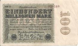 ALLEMAGNE 100 MO MARK 1923 VF+ P 107 - [ 3] 1918-1933 : Weimar Republic
