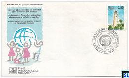 Sri Lanka Stamps 1997, Plan International, Chrildren, Lighthouse, Lighthouses, Special Commemorative Cover - Sri Lanka (Ceylon) (1948-...)