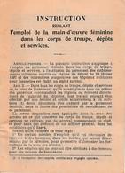 WW1 - Emploi MAIN D'ŒUVRE FÉMININE Dans Les CORPS DE TROUPE, Dépôts Et Services - LIVRE D'INSTRUCTION - Documents Historiques