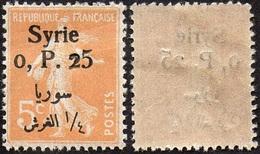 Syrie N° 127 ** Semeuse, Surchargée 0pi25 Sur 5c Orange (Petites Froissures) - Neufs