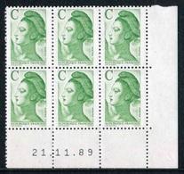"""Bloc** De 4  Timbres De 1990 """"C (2,10 F) - Marianne De Gandon - Type Liberté"""" Avec Date  21 . 11 . 89 - 1980-1989"""