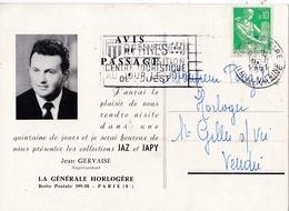 """FRANCE :  Moissonneuse 0,10 Cts Vert Sur Carte Commerciale """" JAZ """" CaD De Rennes Double - 1921-1960: Modern Period"""