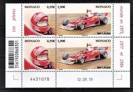 MONACO 2020 - BLOC DE 2 DUOS / LES PILOTES MYTHIQUES DE F1 : NIKI LAUDA - NEUFS ** / COIN DE FEUILLE / DATE - Monaco
