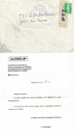 Enveloppe Réparée Avec Lettre D'EXCUSE De LA¨POSTE - Marianne De Briat - Accident Acheminement BORDEAUX CTC Gironde - Marcophilie (Lettres)