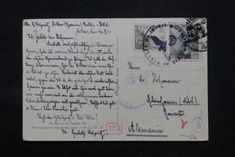 ESPAGNE - Carte Postale De Bilbao Pour L 'Allemagne En 1941 Avec Cachet De Contrôle, Affranchissement Plaisant - L 59169 - 1931-50 Briefe U. Dokumente