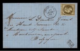 SEINE - LAC - Tàd T15 CHOISY LE ROI (1868) + GC 1019 Sur N° 30 -> Marchienne Au Pont (Belgique) - 1849-1876: Période Classique
