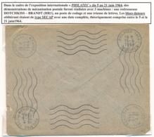 """SECAP """" PHILATEC 1964 SPECIMEN """" Démonstration Machines HOTCHKISS BRANDT - Codage -trieuse Lettre - Expositions Philatéliques"""