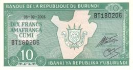Burundi (BRB) 10 Francs 2005 UNC Cat No. P-33e / BI214k - Burundi