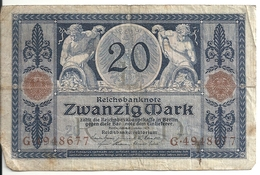 ALLEMAGNE 20 MARK 1915 VG+ P 63 - [ 2] 1871-1918 : German Empire