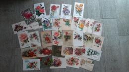 Lot 34 Cartes Fantaisie Fleurs Roses Paillettes Bonne Fête Saint Nicolas Anniversaire - Autres