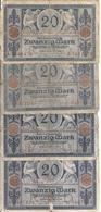 ALLEMAGNE 20 MARK 1915 VG+ P 63 ( 4 Billets ) - [ 2] 1871-1918 : German Empire
