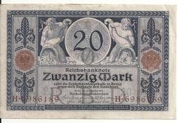 ALLEMAGNE 20 MARK 1915 VF P 63 - [ 2] 1871-1918 : Empire Allemand