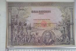 """Portugal- 100 Escudos 1918  """"Billets Fictifs Specimen"""" (RÉPLICA) UNC - Fictifs & Spécimens"""