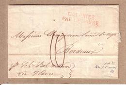 ETATS UNIS - LETTRE DE MR CLAMAGERAN NOUVELLE ORLEANS A MR CLAMAGERAN BORDEAUX , COLONIES PAR LE HAVRE + TAXE - 1820 - Poste Maritime