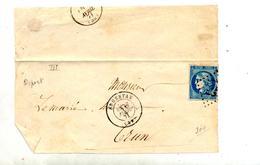Devant De Lettre Cachet Losange Argentan Sur Ceres - Poststempel (Briefe)