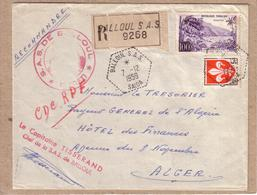 ALGERIE - AGENCE POSTALE ?? - LETTRE EN RECOMMANDE POUR ALGER , CACHET S.A.S. BALLOUL SAÏDA , CAPITAINE TISSERAND - 1959 - Briefe U. Dokumente