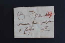 LAC DATEE DU 17/03/1810 PARIS POUR FONTENAY LETTRE P DANS UN TRIANGLE OUVERT ROUGE TAXE MANUSCRITE 7 D. - 1801-1848: Précurseurs XIX