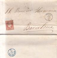 Año 1856 Edifil 48 Sello 4c Isabel II Carta Matasellos Rejilla Murcia Membrete Viuda De Mateo Seiquer - Gebraucht
