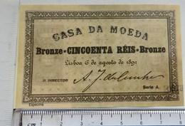 """Portugal-  Monarquia,  50 Reis 1891 """"Billets Fictifs Specimen"""" (RÉPLICA) UNC - Fiktive & Specimen"""