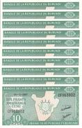 Burundi (BRB) 10 Francs 2007 UNC 10 Pcs Cat No. P-33e / BI214l - Burundi