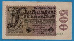 DEUTSCHES REICH 500 Millionen Mark01.09.1923# 19AB.128870  P# 110b - [ 3] 1918-1933: Weimarrepubliek