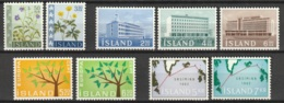 Iceland 1962 Year Complete MiNr.359-367 MNH** Postfrisch - Komplette Jahrgänge