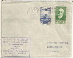 FRANCIA PRIMER CORREO AEREO SIN SOBRETASA 1937 PARIS AL DORSO MAT STOCKHOLM - Poste Aérienne
