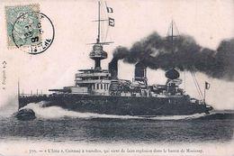 """Cpa """"l' IENA"""" Cuirassé à Tourelles, Qui Vient De Faire Explosion Dans Le Bassin De Missiessy - Warships"""