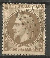 """France - Napoleon III Lauré - N°30 Oblitéré - Oblitération """"Ancre"""" - Curiosité """"filet Absent En Bas"""" - 1863-1870 Napoléon III Lauré"""