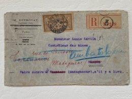 Enveloppe Recommandée Pour Madagascar Type Merson N° 120 Seul Sur Lettre Oblitération Paris 3 Bd Malesherbes 1919 - 1877-1920: Semi-moderne Periode