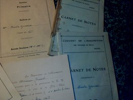 Lot De Vieux Papier De Belgique Scolaire Bulletin   Carnet De Notes Bon Point Couvent De L Assomption De Mons 1946/8/9 - Vieux Papiers