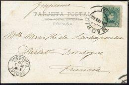 "Espagne - 1902 - Alphonse XIII 5 C Sur Imprimé CPA ""Toledo - Orillas Del Tajo"" Corresp. De Madrid Pour Sarlat (Fr) B/TB. - Storia Postale"