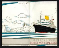 List Of Passengers ROYAL MAIL LINES Line Ship Cruise RMS ALCANTARA May 1949 Southampton Cherbourg Vigo Lisboa - Schiffe