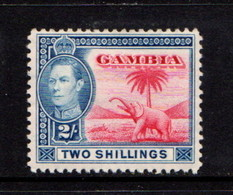 GAMBIA    1938    2/-  Red  And  Blue    MH - Gambia (...-1964)
