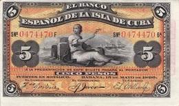 CUBA - 5 PESOS 1896 XF P-48b //BN22 - Cuba