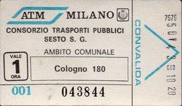 Biglietto Trasporto Pubblico ATM Milano - Autobus