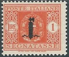 1944 RSI SEGNATASSE 1 LIRA MH * - RC29-6 - 4. 1944-45 Social Republic