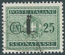 1944 RSI SEGNATASSE USATO 25 CENT - RC13-6 - 4. 1944-45 Social Republic