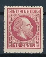 Nederlands Indië - 1868 - 10 Cent Willem III, Proef 20f - Karmijn - Niederländisch-Indien