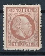 Nederlands Indië - 1868 - 10 Cent Willem III, Proef 20k - Lilabruin - Niederländisch-Indien