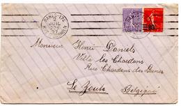 Lettre De Paris 124 (2.07.1927) Pour Le Zoute, Belgique - France