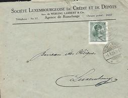 Luxembourg  -  5.8.1924 - Société Luxembourgeoise De Crédit Et De Dépôts , Agence De Rumelange - Luxembourg