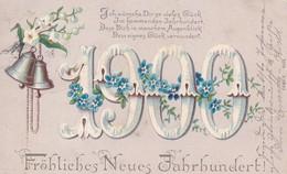 AK Fröhliches Neues Jahrhundert - 1900 Gedicht Glocken Vergissmeinnicht - Cassel 1899 (49496) - Nouvel An