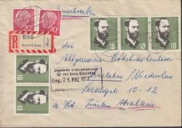 BRD 2x 185 X, 5x 252 MiF, Auf R-Brief, Gestempelt: Krefeld-Linn 23.3.1957 - BRD