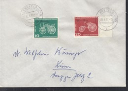 BRD  363-364, MiF Auf Brief Mit Stempel: Krefeld-Linn 30.8.1961, 75 Jahre Motorisierung - [7] République Fédérale