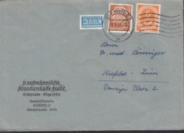 BRD Mischfrankatur Posthorn 126, Heuss 178, Auf Orts-Brief, Gestempelt: Krefeld 21.7.1954 - BRD