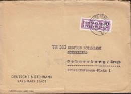 DDR  ZKD 7 EF, Brief Der Dt. Notenbank, Gestempelt: Karl-Marx-Stadt 26.3.1957 Nach Schneeberg - Official
