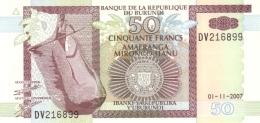 Burundi (BRB) 50 Francs 2007 UNC Cat No. P-36g / BI222g - Burundi