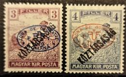 HUNGARY 1919 / ROMANIAN OCCUPATION - MLH - Sc# 2N34, 2N35 - 3f 4f - Szeged