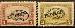 HUNGARY 1919 / ROMANIAN OCCUPATION - MLH - Sc# 2N44, 2N45 - 1K 2K - Szeged